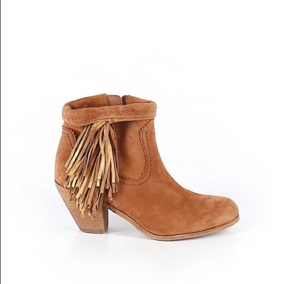Sam Edelman Shoes - Sam Edelman tan brown fringe ankle bootie Louie